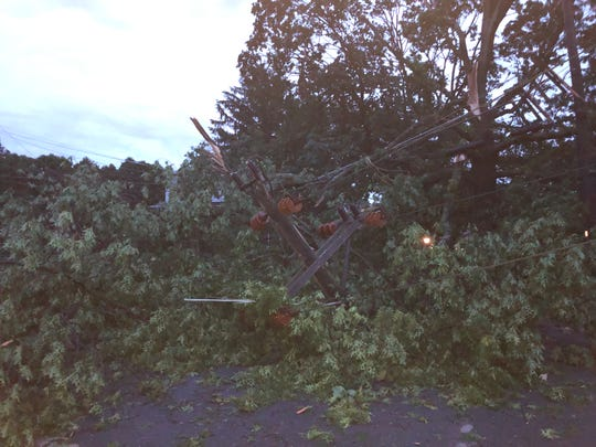 At the end of the cul-de-sac on Duncan Road, a tree completely toppled a power line Wednesday.