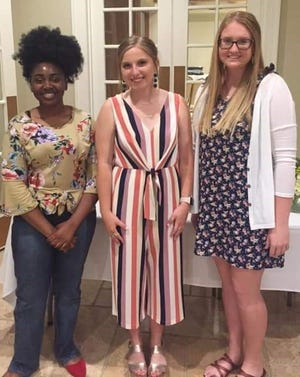 Congratulations to the Senior-Junior Forum 2019 Scholarship recipients. They were recently honored at the Installation Banquet. From left to right:  Crystal Okafor, Caroline Cooper and Hannah Ponder. Not pictured Kaden Fleming.