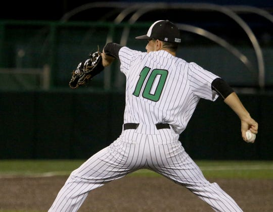 Iowa Park's Braxton Briones pitches against Argyle Wednesday, May 29, 2019, in the Region I-4A final at Abilene Christian University.