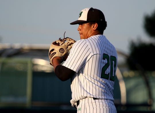 Iowa Park's Chris Dickens pitches against Argyle Wednesday, May 29, 2019, in the Region I-4A final at Abilene Christian University.
