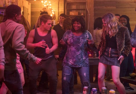 "It's a party at Ma's – until it's a horrific bloodbath.  Pictured (from left): Dante Brown, Gianni Paolo, Octavia Spencer and McKaley Miller in ""Ma."""