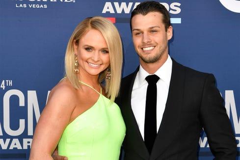 801e71e7d Miranda Lambert and Brendan McLoughlin pose at the Academy of Country Music  Awards on April 7