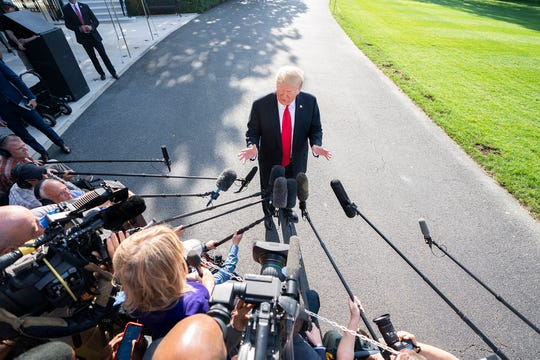 President Donald J. Trump speaks to the media as he departs the White House for Coloradoon May 30, 2019.