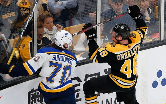 Blues center Oskar Sundqvist was penalized for boarding Bruins defenseman Matt Grzelcyk.