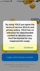 A warning on the Yolo app warns users against harassing others on the app.