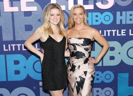 "Ava Phillippe, left, and mom Reese Witherspoon attend Wednesday's ""Big Little Lies"" premiere in New York."