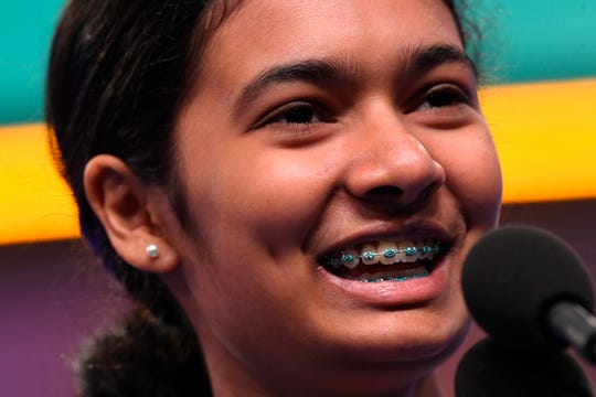 "Dhyana Mishra spelled the word ""morigeration"" during the 2019 Scripps National Spelling Bee at Gaylord National Resort and Convention Center."
