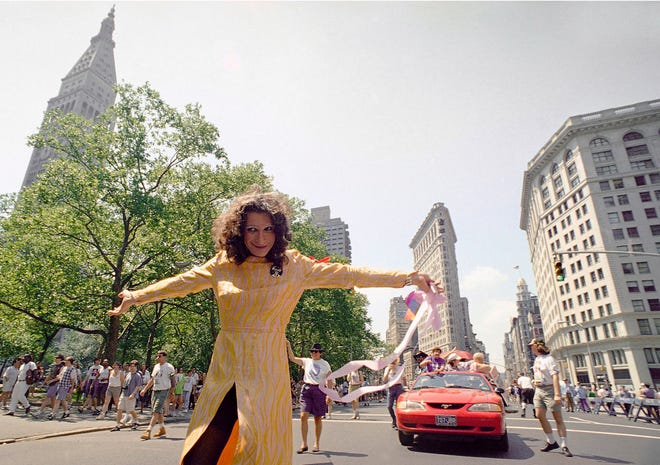 In this June 26, 1994, file photo, LGBT pioneer Sylvia Rivera leads an ACT-UP march past New York's Union Square Park. Rivera and Marsha P. Johnson will be honored with a public monument in New York City, officials announced Thursday.