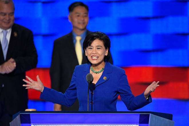 U.S. Rep. Judy Chu, D-CA, speaks as she stands with fellow Asian American and Pacific Island members of Congress, during the 2016 Democratic National Convention at Wells Fargo Center.