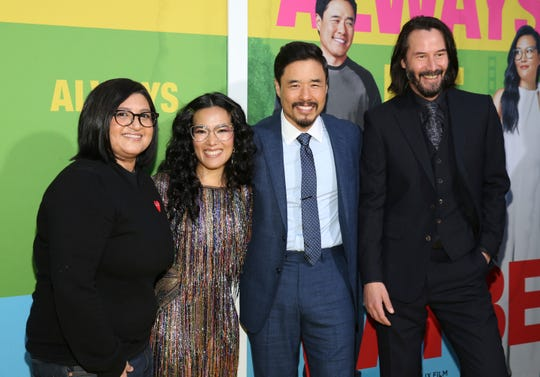 "Director Nahnatchka Khan, Ali Wong, Randall Park and Keanu Reeves pose at the May 22 premiere of ""Always Be My Maybe"" in Westwood, Calif."