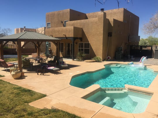 Swimply lets people rent out private pools in the U.S. and Australia. In this photo: Where: Albuquerque, NM Features: BBQ Grill, Bathroom, Changing Room, Hot Tub, Large Pool Area, Lounge Chairs, Lunch Table, Sitting Area, Shaded Area, and Wi-Fi Price: $75 per hours Seating: 10 chairs and 2 lounge chairs Pool Dimensions: 12x27