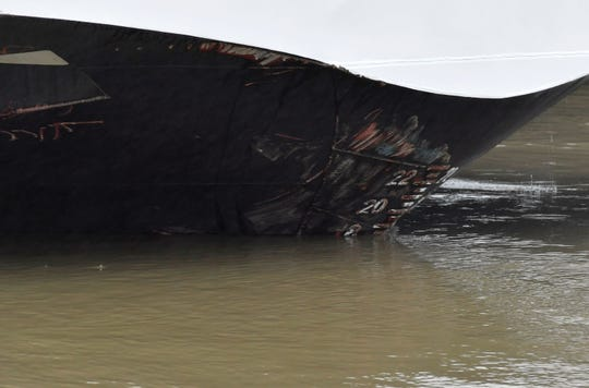 Abrasive damage is visible on the Viking Sigyn hotel ship on the River Danube in downtown Budapest, Hungary, Thursday, May 30, 2019, following a collision of the hotel ship and a sightseeing boat.