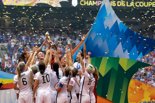 The U.S. women celebrate winning the World Cup in 2015. They will defend the title this summer in France.