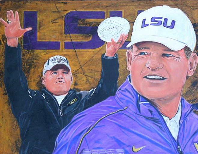 Les Miles' official Louisiana Sports Hall of Fame portrait.