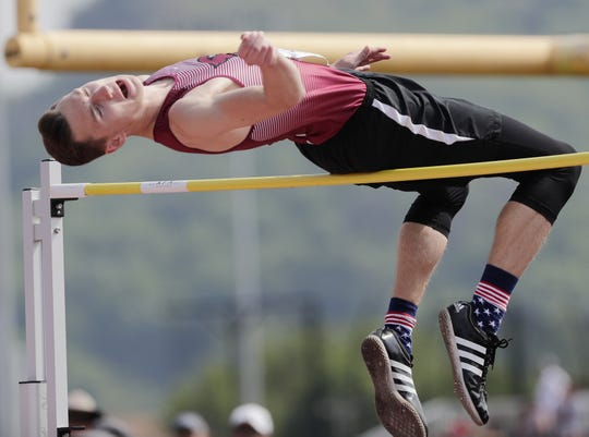 Mayville's Jackson Mittelstadt competes in the Division 2 high jump competition at the WIAA state track and field meet Friday at Veterans Memorial Field in La Crosse.
