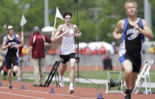 Lourdes Academy's Peyton Kane competes in the Division 3 3,200 run during the WIAA state track and field meet Friday at Veterans Memorial Stadium in La Crosse.