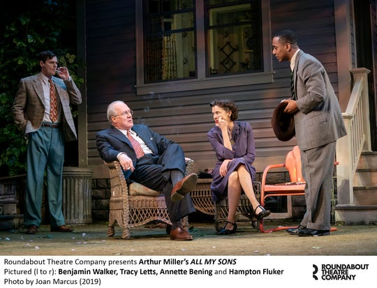 "A scene from ""Arthur Miller's All My Sons."" with Benjamin Walker, left to right, Tracy Letts, Annette Bening and Hampton Fluker."