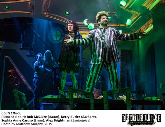 "Rob McClure, from left, Kerry Butler, Sophia Anne Caruso and Alex Brightman in a scene from ""Beetlejuice."""