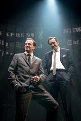 "Bertie Carvel, right, with Jonny Lee Miller in a scene from ""Ink."""