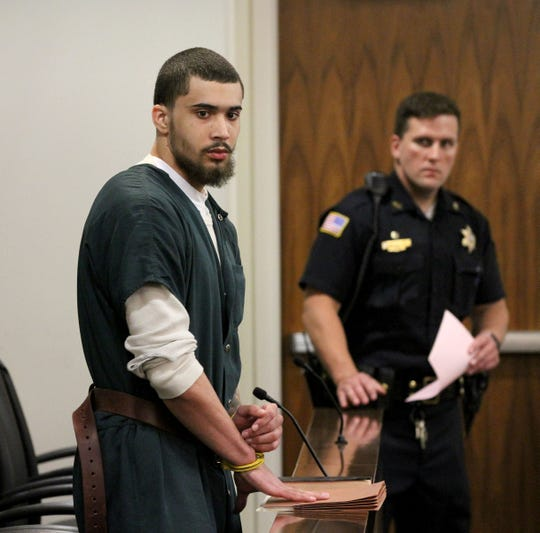 Andreas Erazo leaves State Superior Court Judge David Bauman's courtroom Friday, May 31, 2019, after he was sentenced to a life prison term for the murder of 11-year-old Abbiegail Smith.