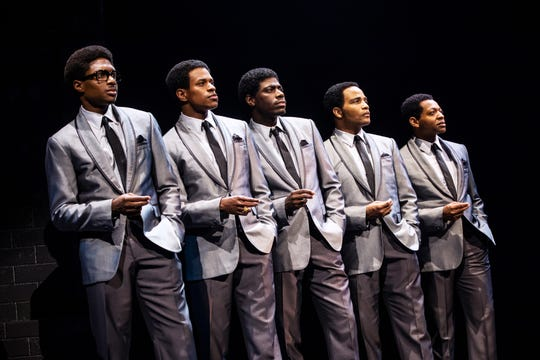 "Ephraim Sykes, left to right, Jeremy Pope, Jawan M. Jackson, James Harkness and Derrick Baskin in a scene from ""Ain't Too Proud: The Life and Times of The Temptations."""