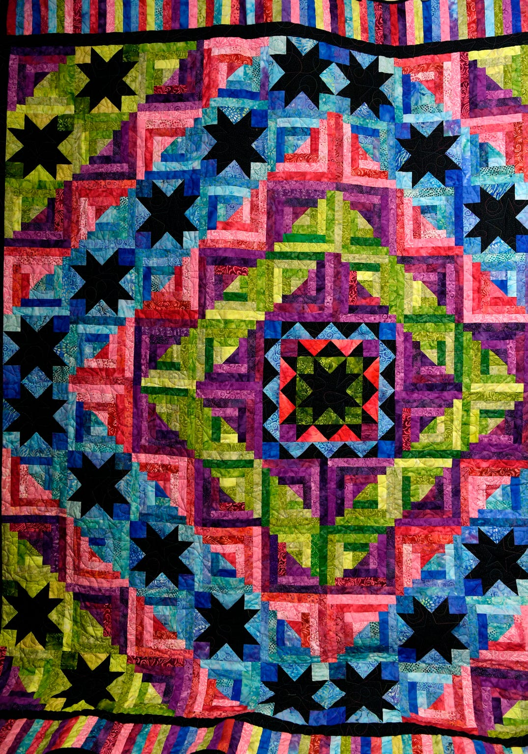 """The quilt """"Bright Star Ripple"""" will be raffled to benefit Cancer Services Network of Abilene during the Abilene Quilters Guild's 25th Regional Quilt Show."""