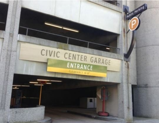 One entrance of Asheville's Civic Center parking deck will be closed until next week after being damaged on May 24.