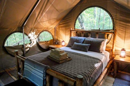 Inside a glamping tent at Lake Powhatan in North Carolina May 25, 2019.
