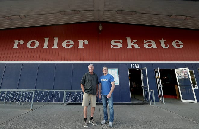 Jim Stevenson and Frankie Lee at Skateland in Bremerton on Thursday, May 30, 2019.