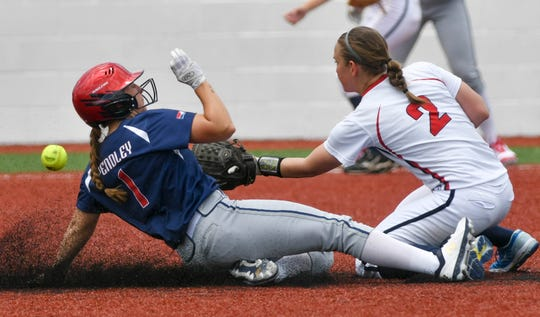Nicole Pendley of the USSSA Pride beats the throw to Teresa Jakesova of the Czech National Team during Friday's exhibition game in Viera