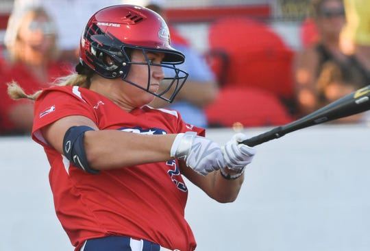 Nicole DeWitt of the USSSA Pride makes contact during an exhibition game in Viera against the Czech National Team.