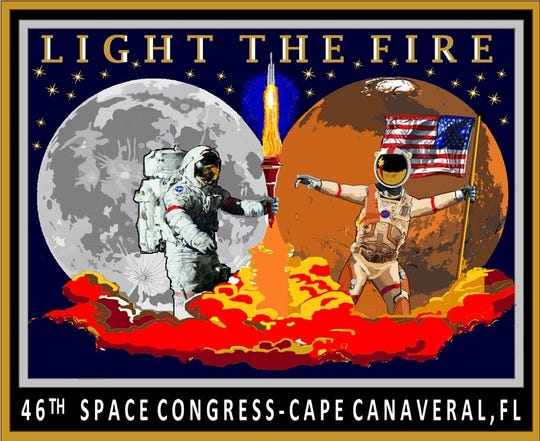 "46th Space Congress theme: ""Light the Fire."""