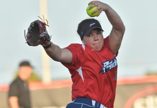 Paige Parker, one of several Oklahoma Sooners on the USSSA Pride, pitches during an exhibition game in Viera.