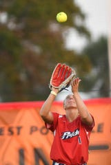 Nicole Pendley of the USSSA Pride tracks down a fly ball during Thursday's exhibition game in Viera