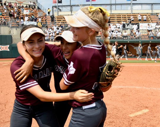 Calallen players celebrate after beating The Colony 5-1 in a Class 5A state semifinal at McCombs Field in Austin on Friday, May 31, 2019.