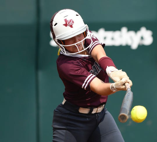 Calallen's Lizette Del Angel hits during a Class 5A state semifinal against The Colony at McCombs Field in Austin on Friday, May 31, 2019.