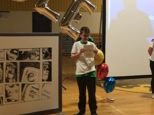 Goggle.com surprised Burlington Township 8th grader Jeremy Henskens  Thursday by announcing his comics cartoon (left) helped him win the annual Doodle for Google contest  in New Jersey. Internet voting for the national winner whose cartoon will appear on the search website's homepage