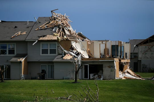 Severe structure damage to the Fairfield Lake apartments in Beavercreek, Ohio, on Friday, May 31, 2019. Relief efforts continue after multiple tornadoes struck the Dayton area on Monday night. The National Weather Service rated the tornadoes as high as EF3 and EF4.