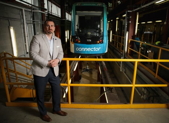 Interim Director of Streetcar Services Travis Jeric is pictured, Friday, May 31, 2019, at the streetcar facility on Race Street.