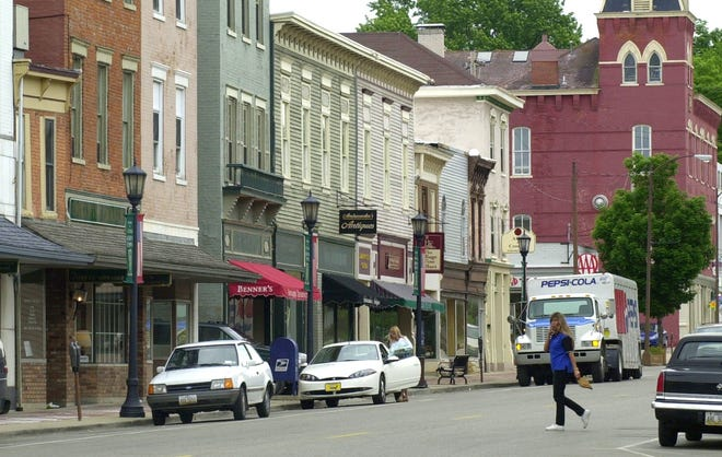 This file photo shows Mullberry Street, looking east in downtown Lebanon Ohio.