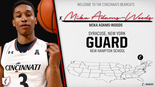 Mika Adams-Woods will be eligible to play for the Cincinnati Bearcats men's basketball team in the 2019-20 season.