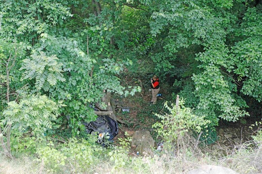 A Chevy Malibu went off the road and into a ravine on Ashland City Road Friday afternoon, May 31, 2019.