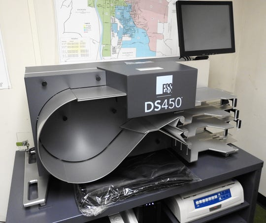The DS450 processes paper ballots at a rate of 72 per minute.