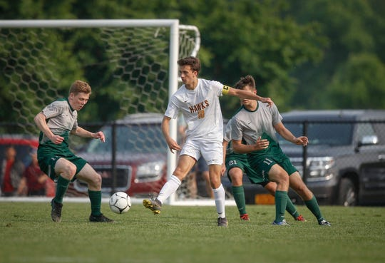 Ankeny senior Kolby Raineri moves the ball against Iowa City West during the first round of the Class 3A Iowa boys state soccer tournament at Cownie Soccer Complex in Des Moines on Friday, May 31, 2019.