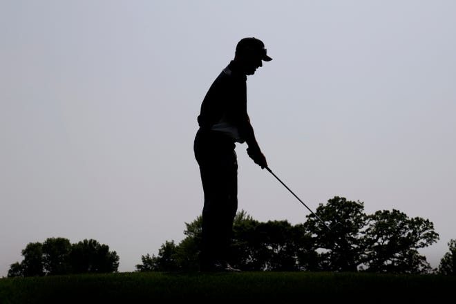 Kevin Sutherland chips to the fourth green during the first round of the PGA Tour Champions Principal Charity Classic golf tournament, Friday, May 31, 2019, in Des Moines, Iowa.