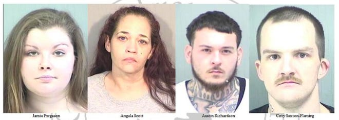 (Left to right) Jamie Furgason, Angela Scott, Austin Richardson, and Coty Sexton-Fleming face charges in connection to a retail and check fraud ring the Adrian Police Department says was operating throughout Lenawee County, and portions of Jackson County.