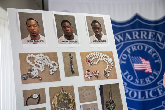 Three suspects -- Carlton Ashford, 28; Cedrick Ashford, 26; and Dejhan Marshall, 20 -- believed to be responsible for 20 home invasions are shown during a press conference at Warren Police Department in Warren, Friday, May 31, 2019.