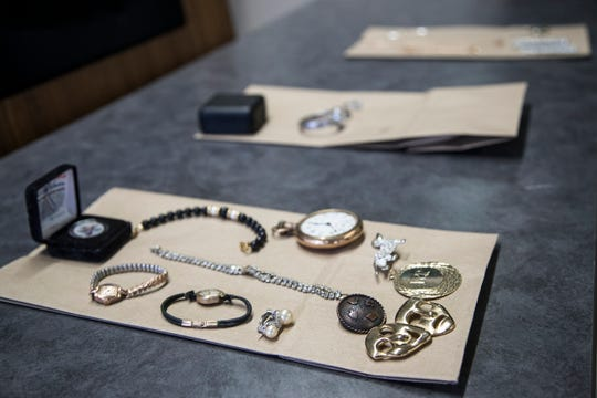 Some of the stolen items recovered by Warren police on display during a press conference at Warren Police Department in Warren, Friday, May 31, 2019.