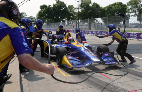 The Pit Crew for Alexander Rossi changes tires during practice rounds of the Detroit Grand Prix, Friday, May 31, 2019 on Belle Isle in Detroit.