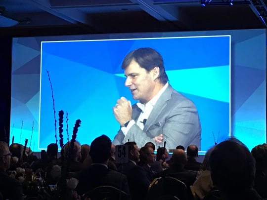 Jim Farley, then-president of Ford global markets, speaking to the Automotive News World Congress dinner at the Detroit Marriott at the Renaissance Center on Jan. 15, 2019.